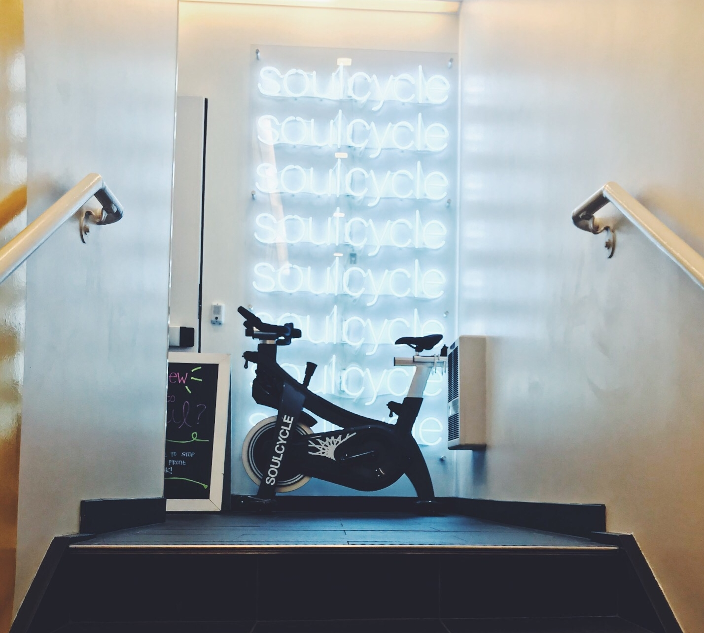 Soulcycle chicago spin bike in studio entrance.