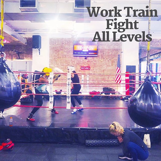 Work Train Fight - All Levels: a casual full-body boxing-focused workout. The first half of class consists of shadowboxing & cardio drills while the second half of class puts your hands in the gloves (complimentary rentals) for several boxing and strength circuits around the small class area. Expect a hard workout & know your punch numbers (e.g. 1=jab, 2=cross, etc.). I get what WTF is trying to do, but they could work on more inviting vibes. Read the full review on the RR site (link in bio👆🏻). #registrationrequired