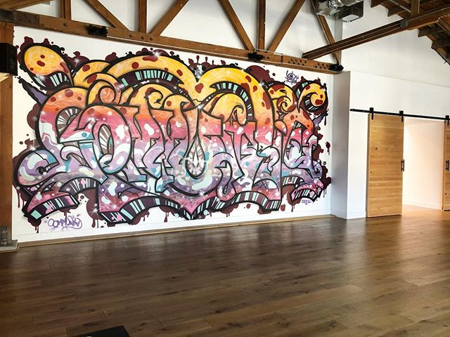 stunning mural in the practice space @onedowndog [stay tuned for artist]