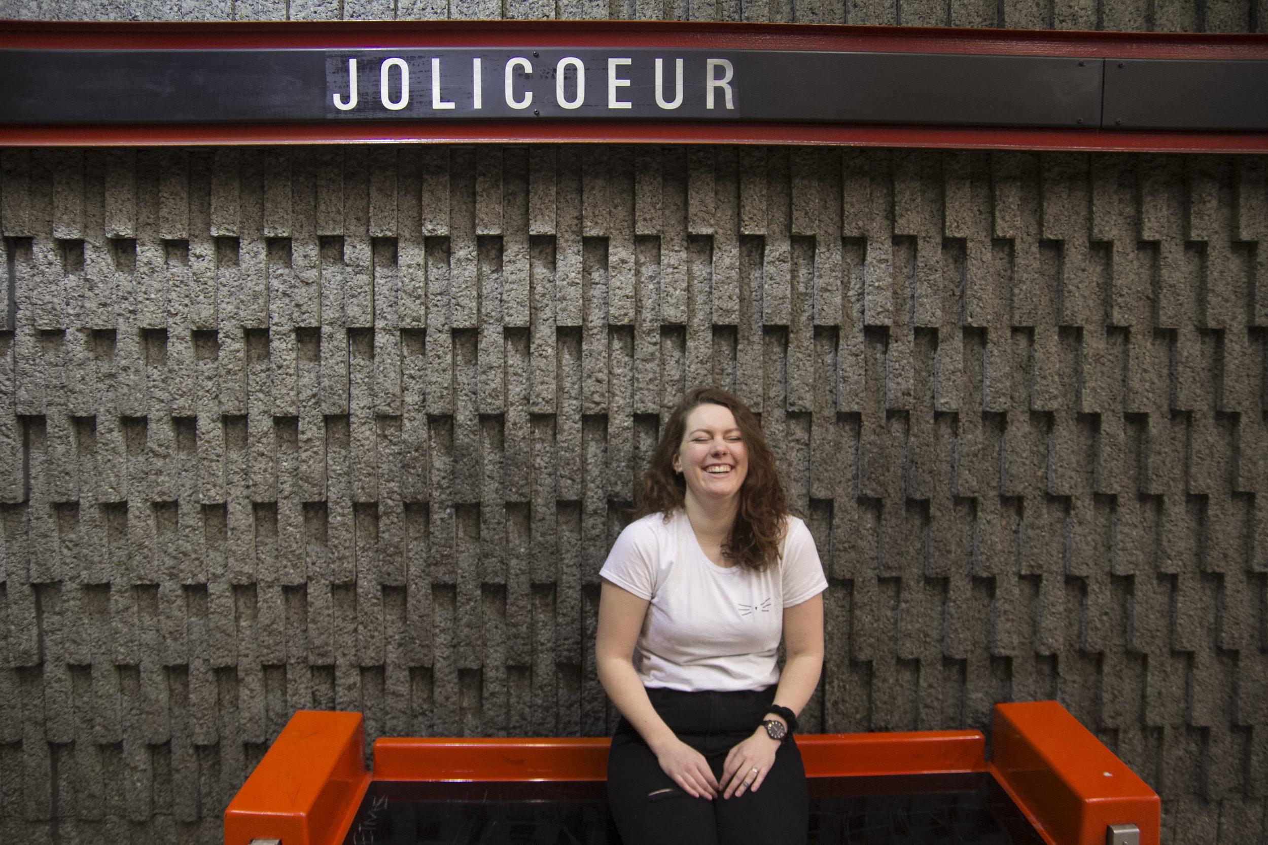 Lola laughing in the metro