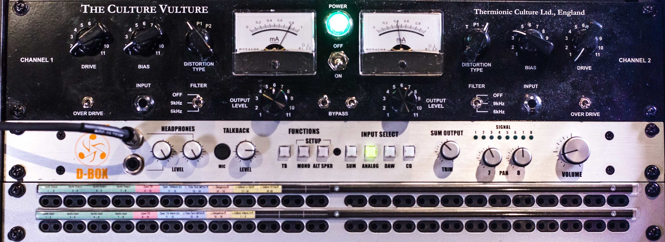 Thermionic Culture Vulture  Dangerous Music D-BOX  REDCO TT/DB25 96PT Patch Bay