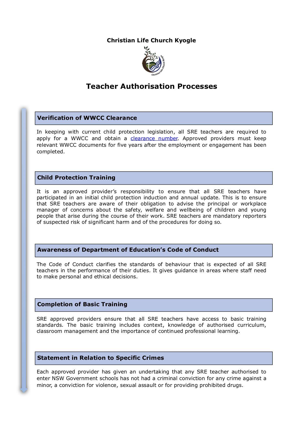Our Teacher Authorisation process