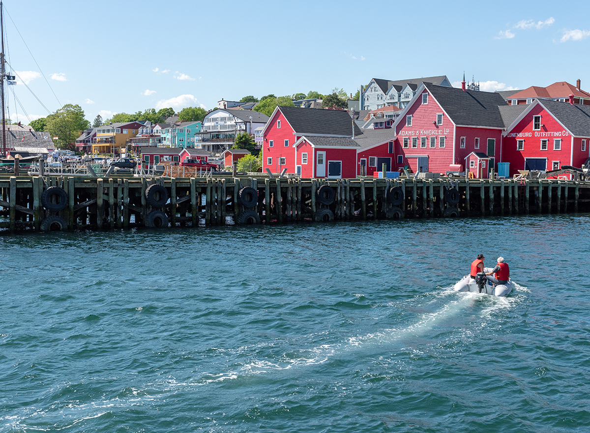 Pick and drop off by zodiac at Zwickers wharf in Lunenburg. ( this is the dock with the colourful chairs on the waterfront.)