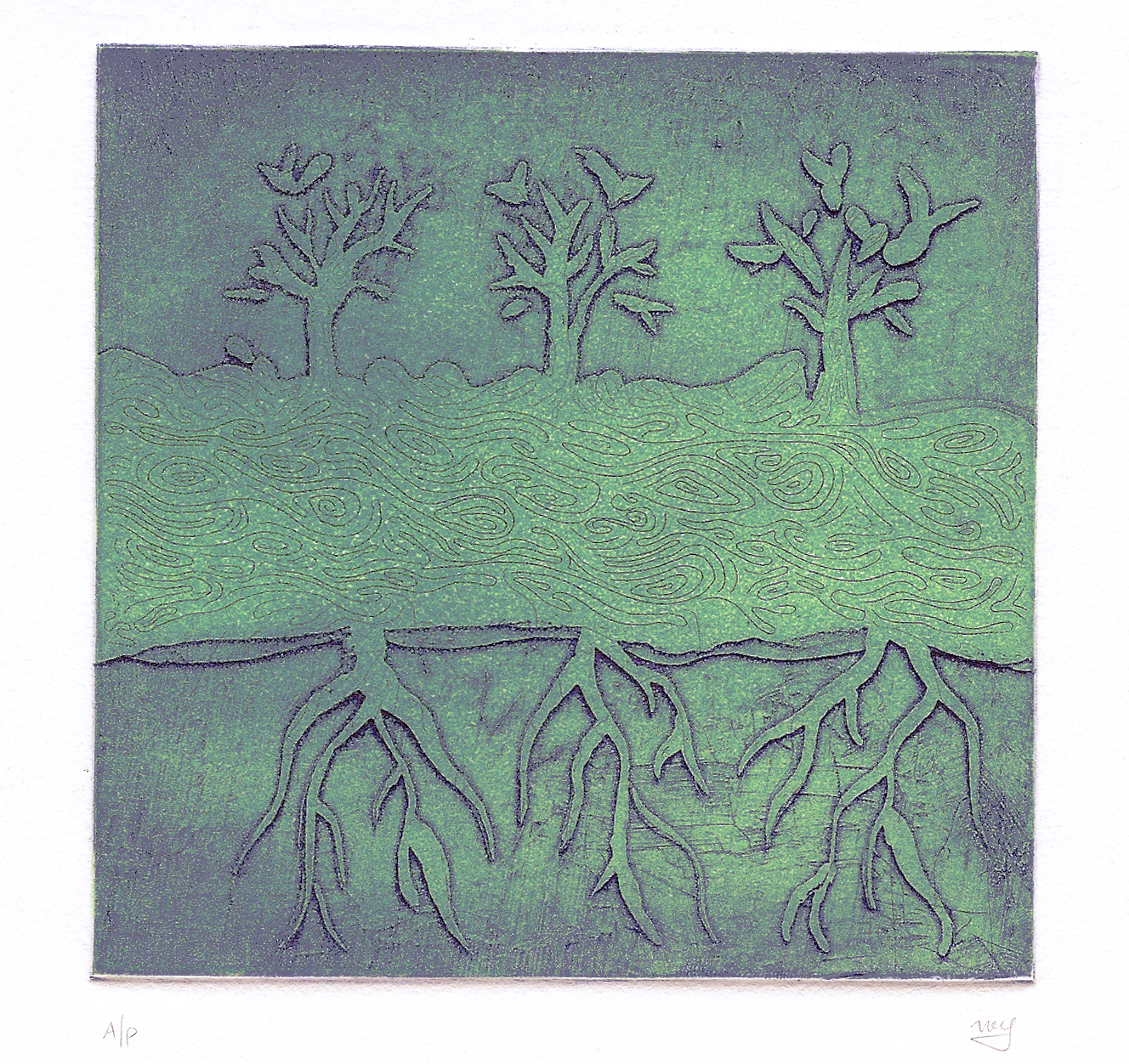 Meirav Ong    |  The Tree that Stands Beyond Space |  Intaglio print on paper