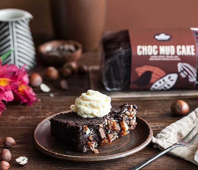 Must be #afternoonteatime... our choccy mud cake, even better with cream.  Available from @farrofresh @moorewilsons and selected New Worlds... photo credit the ever talented @crazy_cucumber_blog #yum
