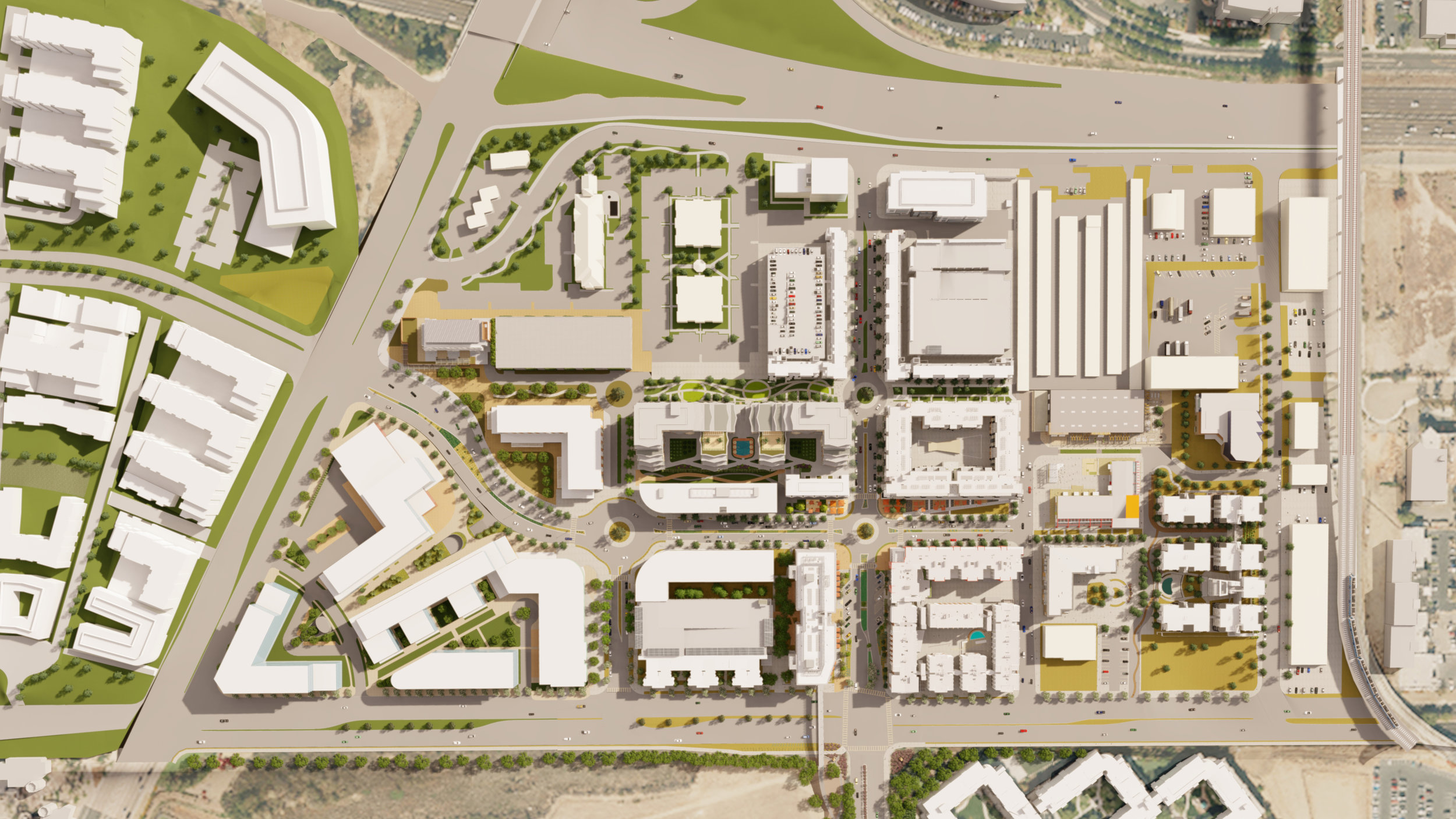 A draft example of Safdie Rabines Architects' potential arial rendering of North City.  Subject to change.