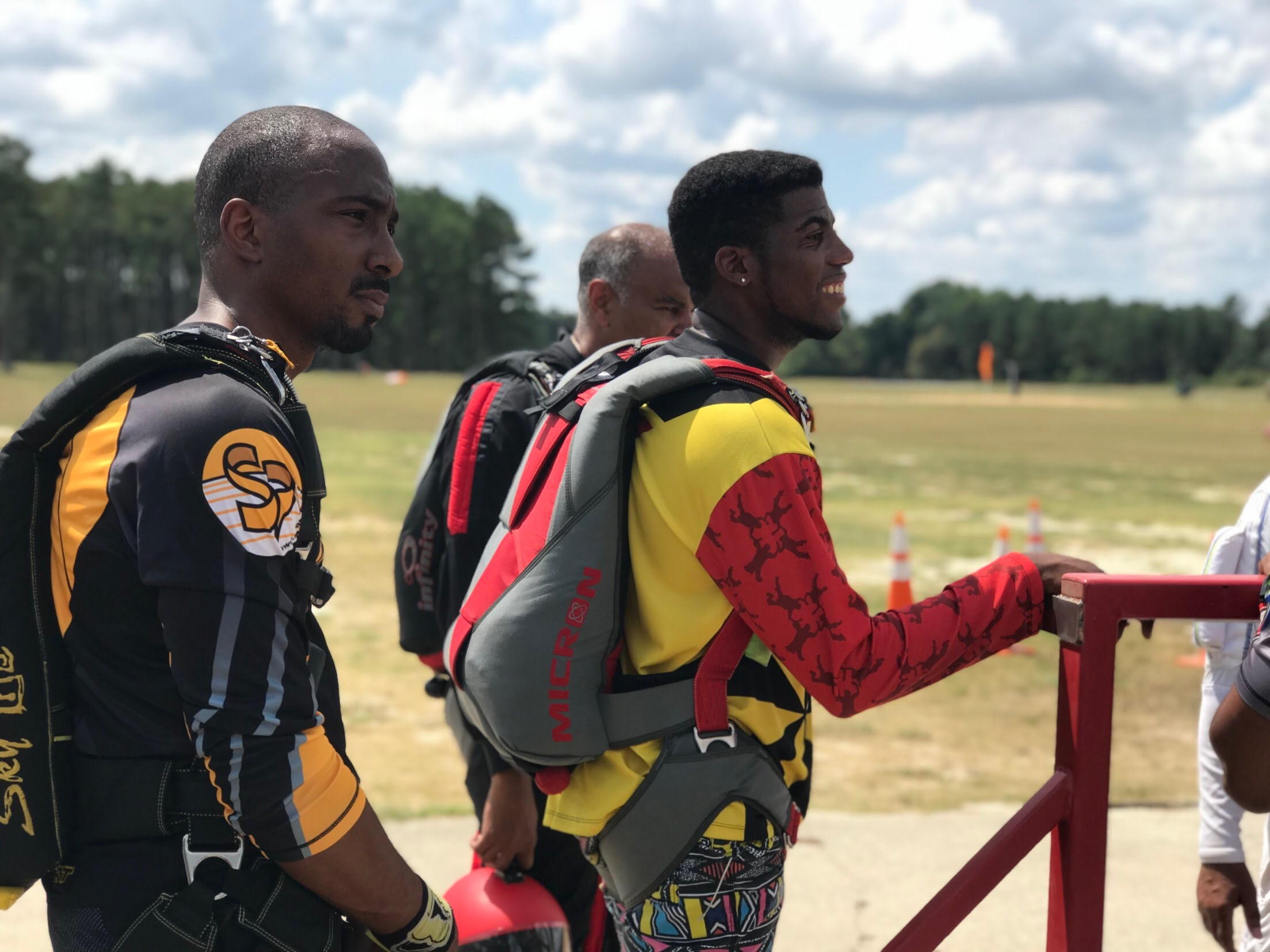 Matthew Smith (l) is pictured at a drop zone in North Carolina during a Team Blackstar meetup ( Photo credit: Danielle Williams)