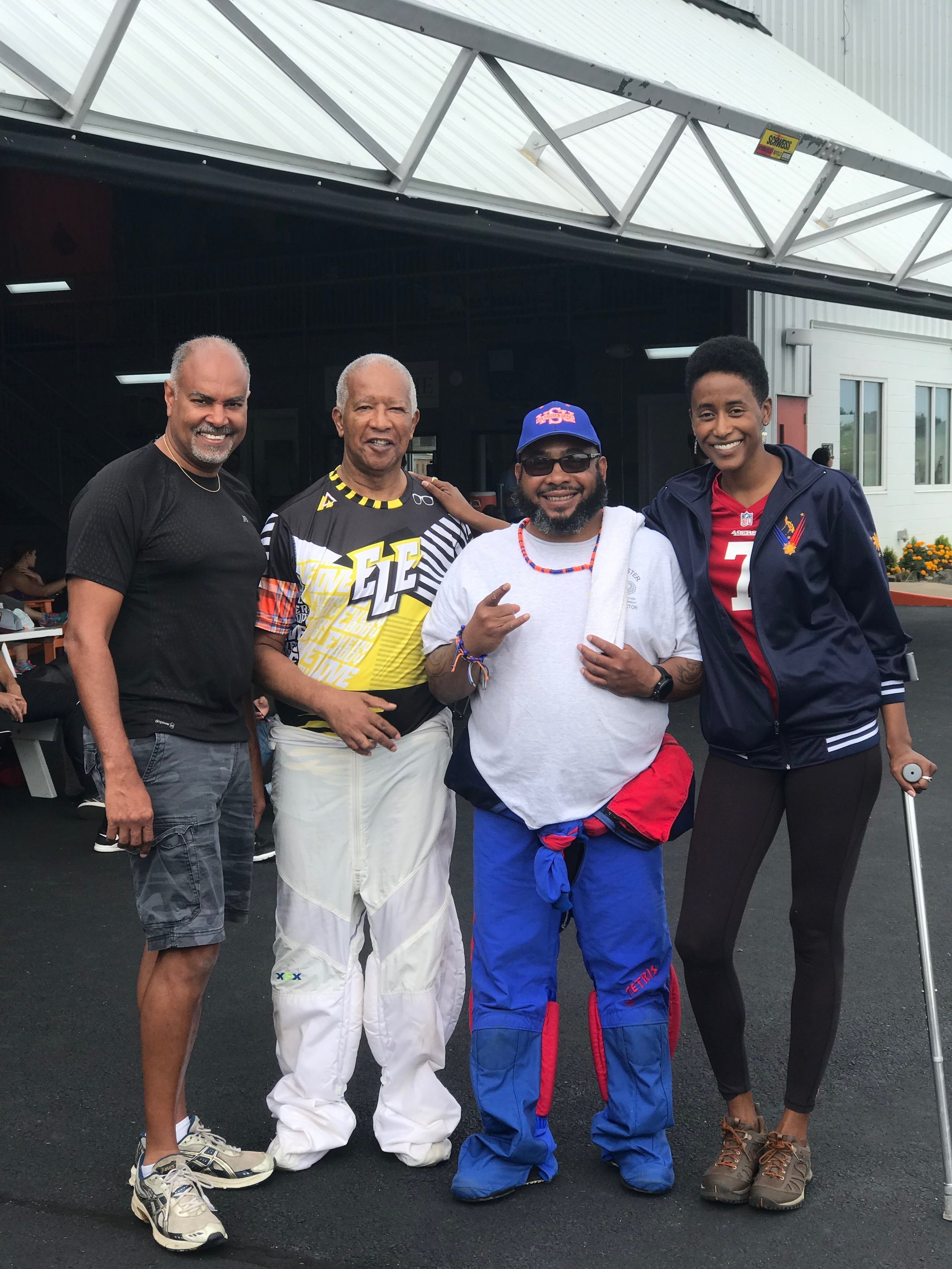 Harrison (2nd from l) poses with Team Blackstar skydivers in Virginia.