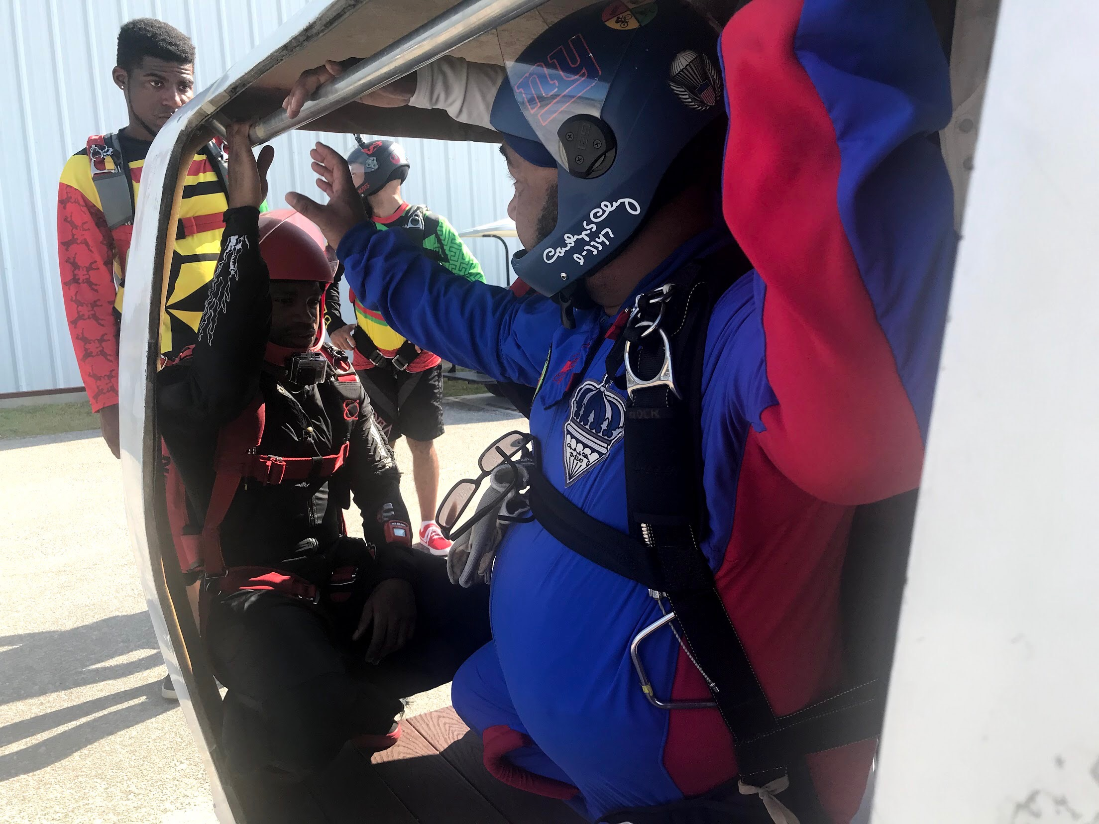 Mike 'dirt-dives' a skydiving exit at the mock airplane door during a Team Blackstar meet-up in North Carolina.  Photo courtesy of Danielle Williams