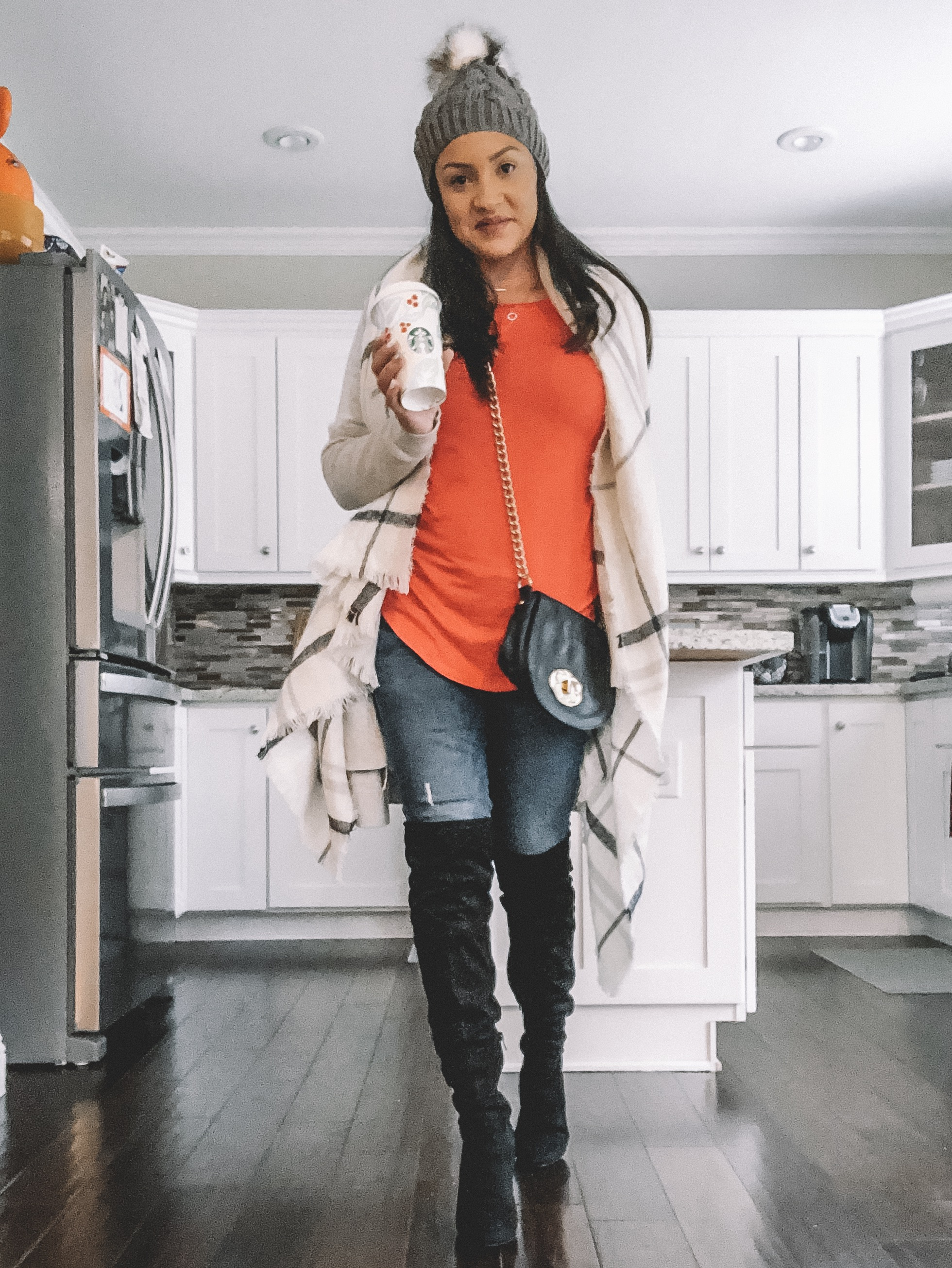 """Some of my """"go to"""" accessories this season include a pom beanie and plaid sweater. You can pair these with just about anything and dress up or down. They're so fun and you can buy them in so many colors!"""