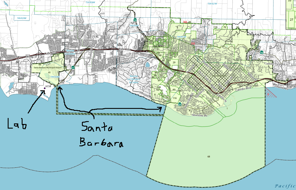 Map courtesy of the Santa Barbara County Surveyor and modified (crudely) by me.