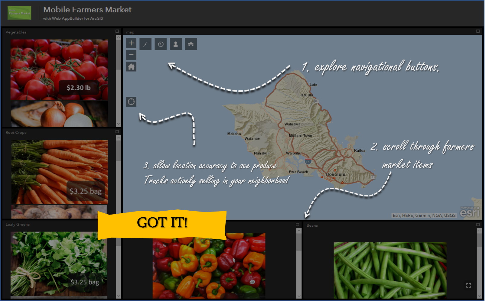 Feature 1:  interactive gis capability  GIS mapping, notifications, and systems for advanced ordering and payment all at your fingertips    -  Click on our interactive sample and scroll through the  farmers' market items  to learn more about your local products     -  Be sure to check each  navigational button  in the upper left corner of the map to learn more about your local provider