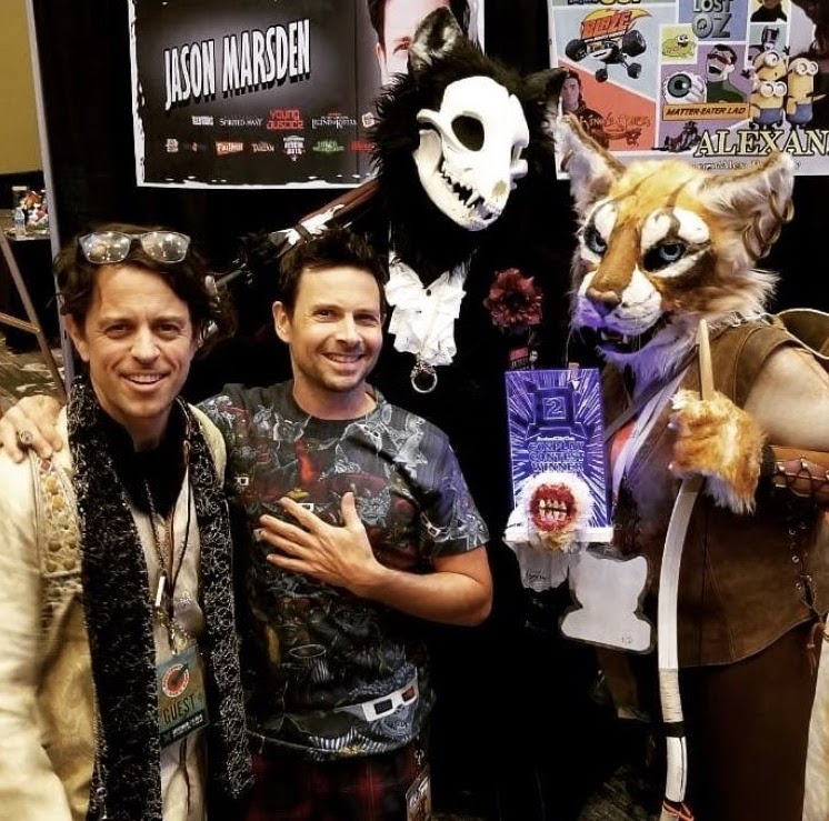 Alex Polinsky and Jason Marsden at Ancient City Con with two cosplayers. - Photo credit: @doctor_hiss & @aunumwolf42