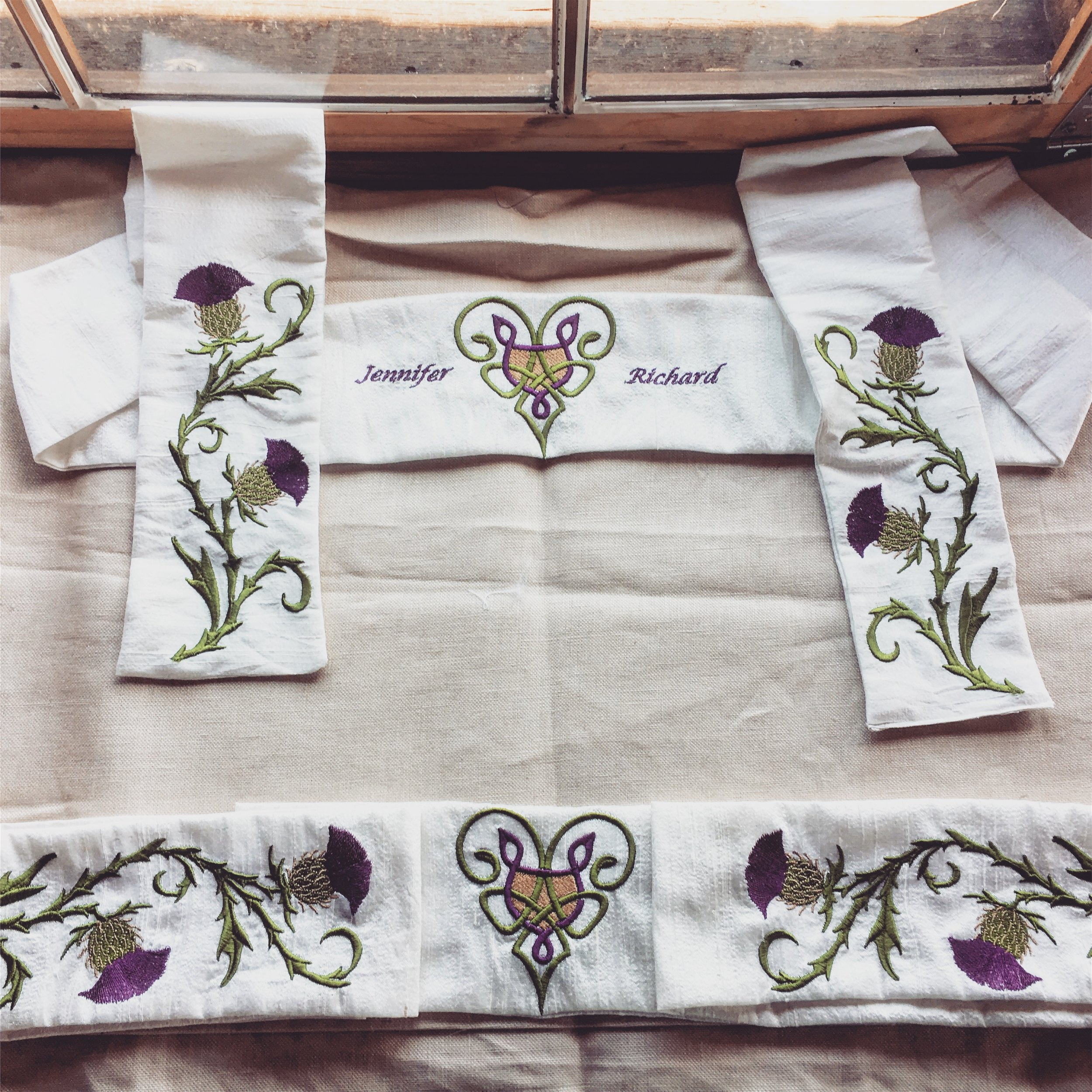 Linen Cloths with Thistle Motif