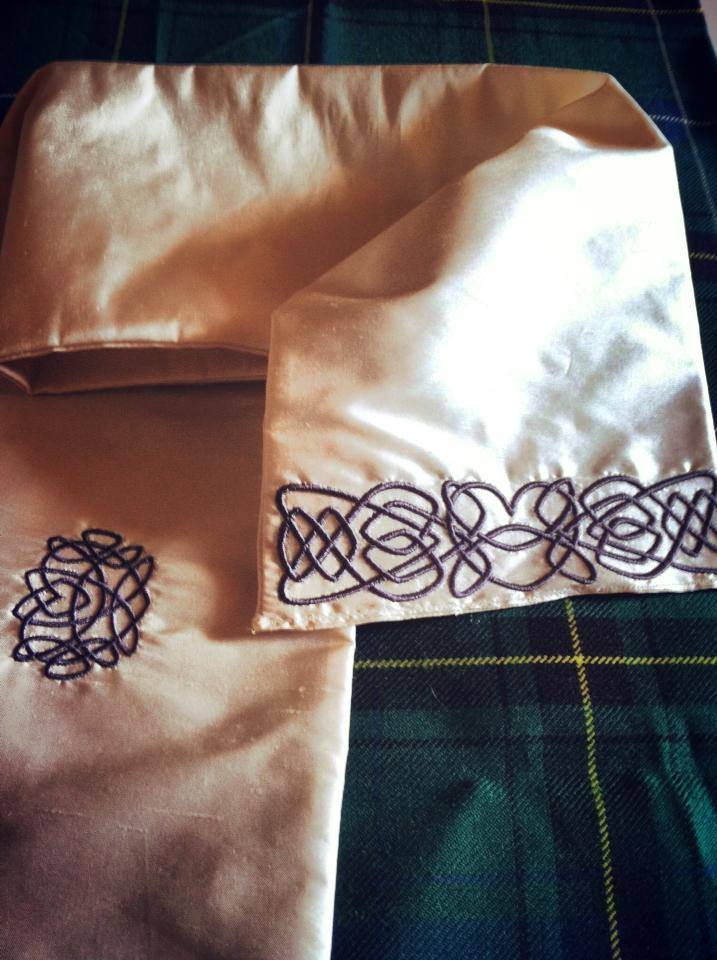 Ivory Silk Handfasting Cloth <br> with gray embroidery