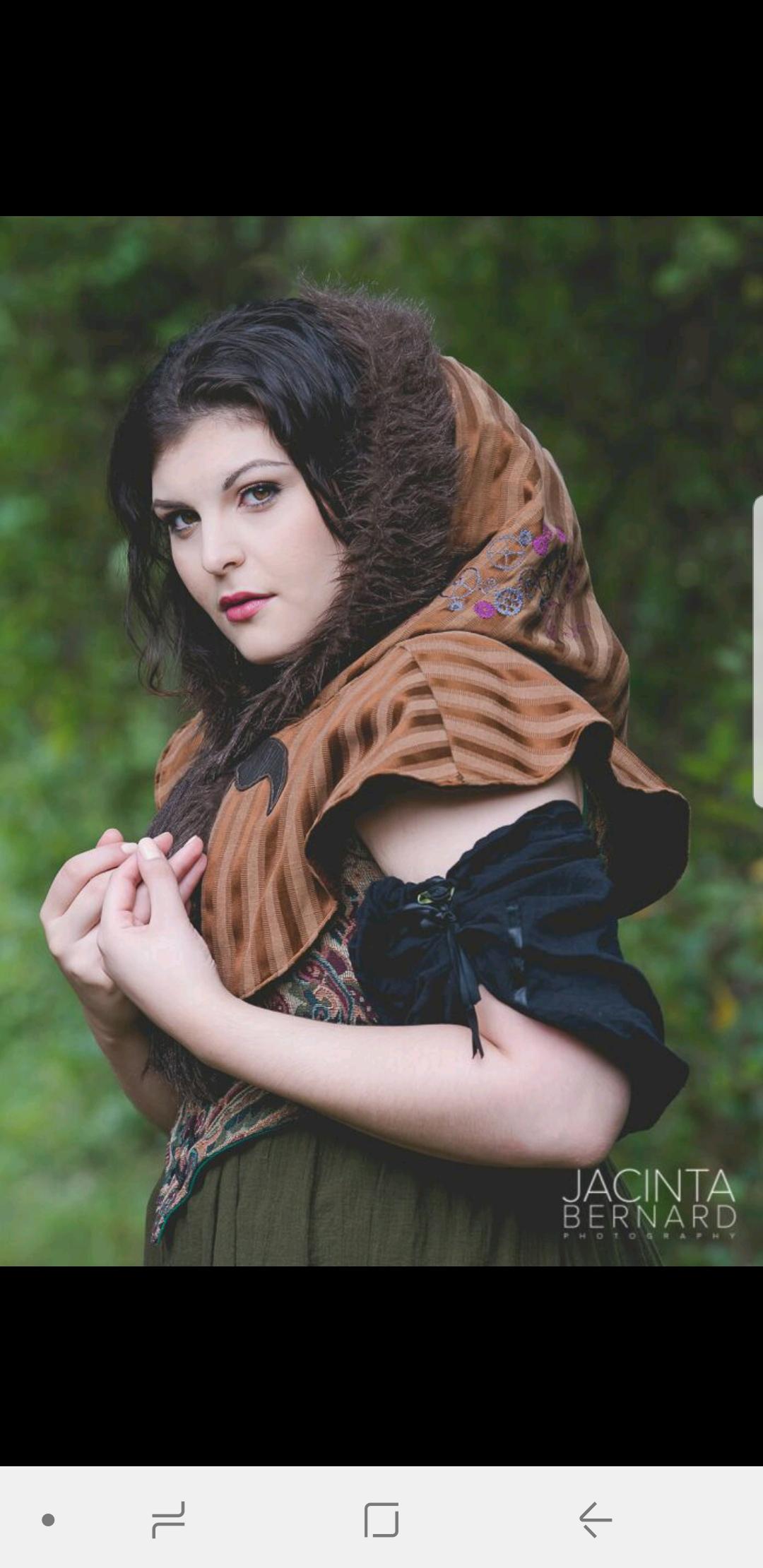 Lexi Haddad modeling <br> her Steampunk Elf Hood...