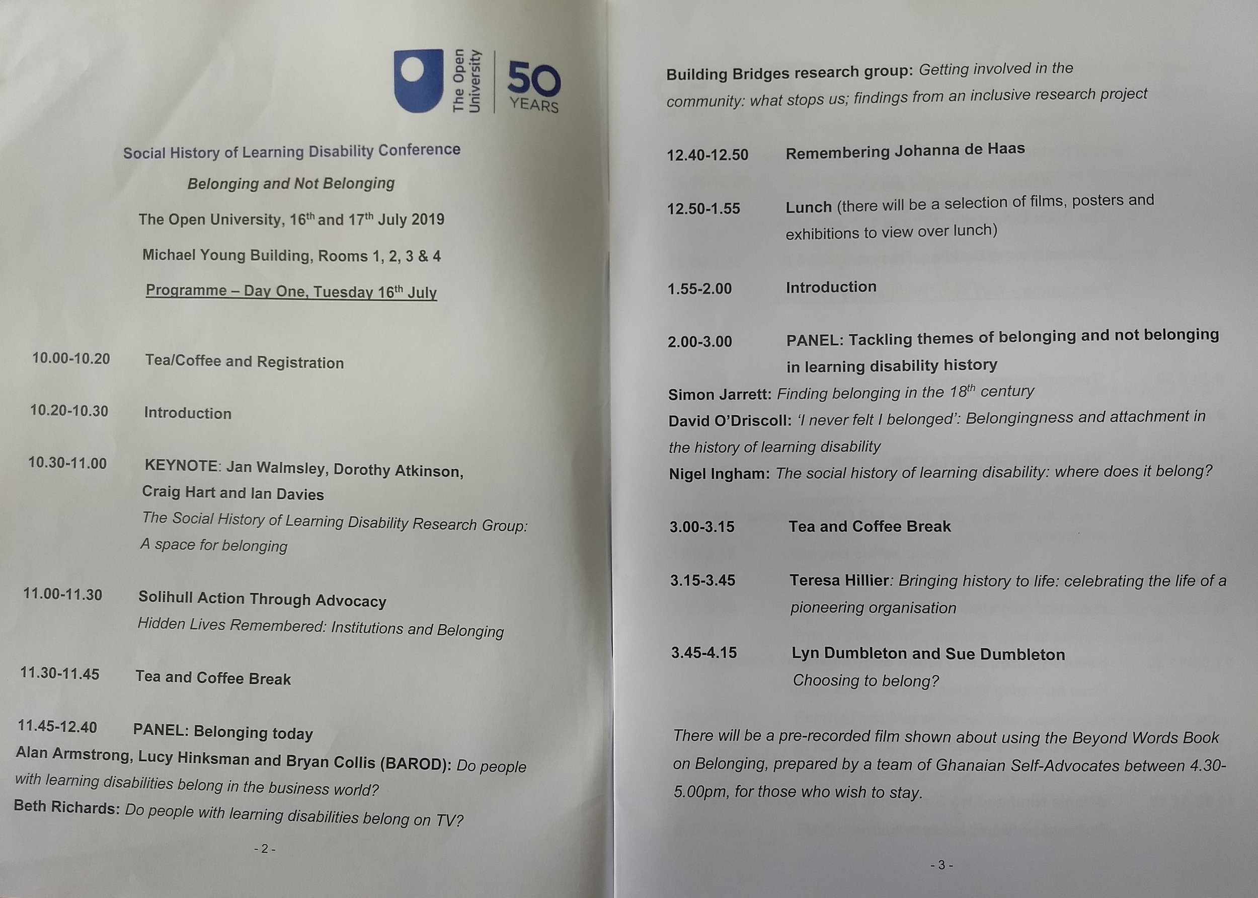 The programme for Tuesday 16th July
