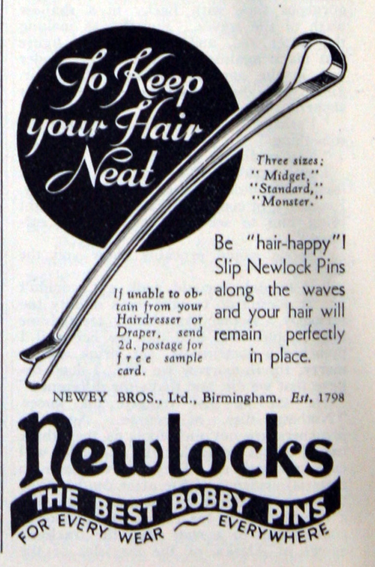 Newey Brothers (Newey Goodman) advert for the types of hair pins the residents at Middlefield are likely to have made. Image from Graces Guide ( https://www.gracesguide.co.uk/File:Im193306GHK-Newlocks.jpg )