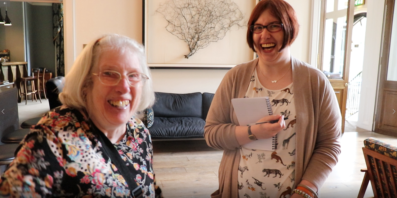 Jennifer and Pauline having a laugh about the ghosts at Hampton Manor