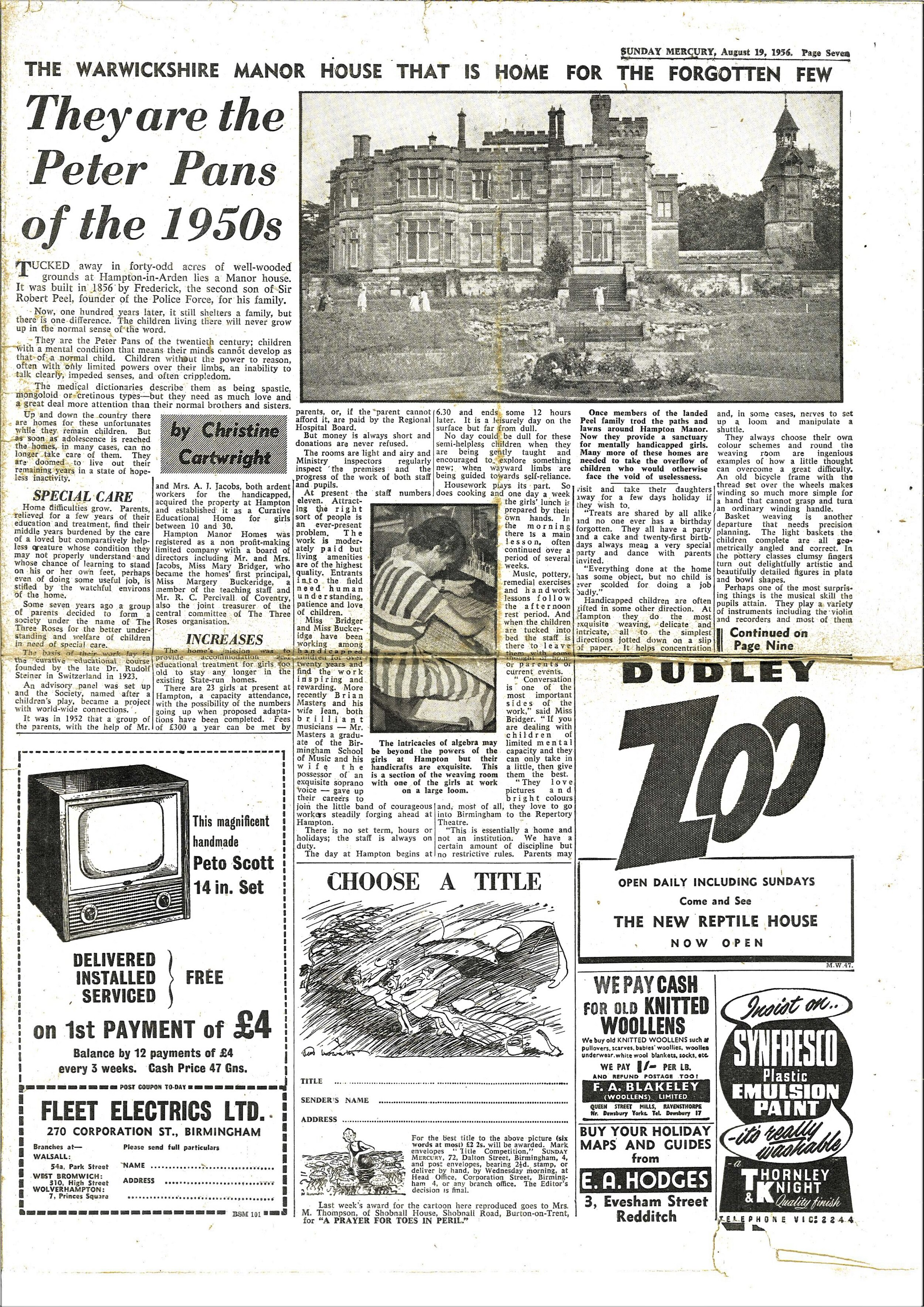 Part one of the article from 1956 - copyright The Sunday Mercury