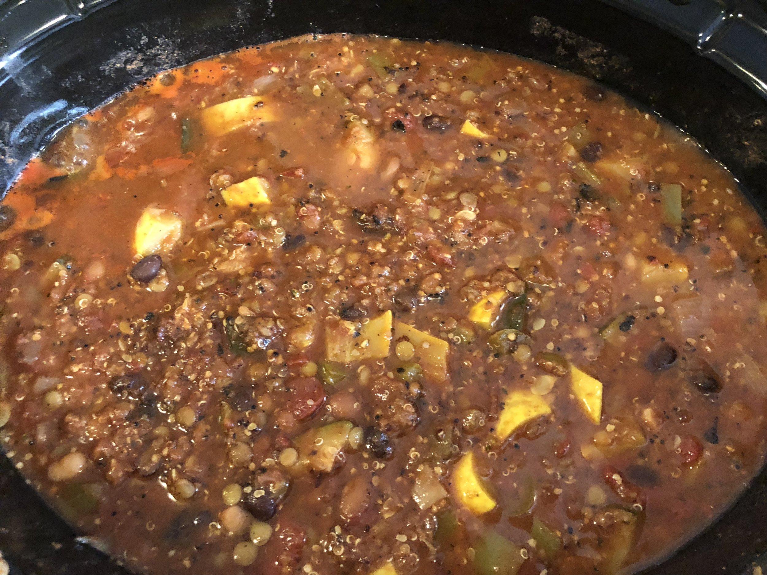 Vegan Hemp Chili with Hemp Way Foods Burger Crumbles