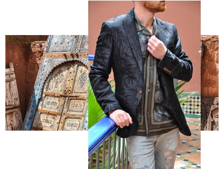 Jacke & Hemd: Etro, Jeans: Saint Laurent