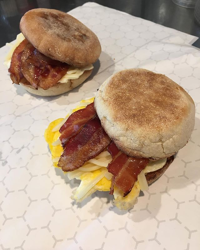 We are now serving BREAKFAST SANDWICHES ! Start your day off right with egg and cheese on an English muffin and your choice of bacon, ham or sausage- yum!!