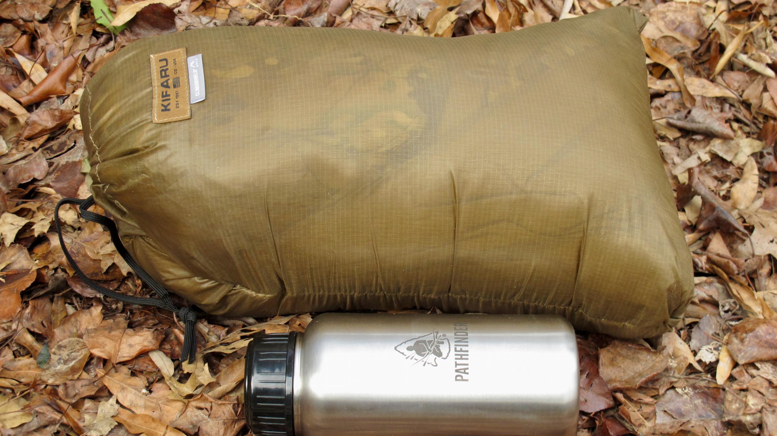The Kifaru Woobie alongside a 32-ounce water bottle.