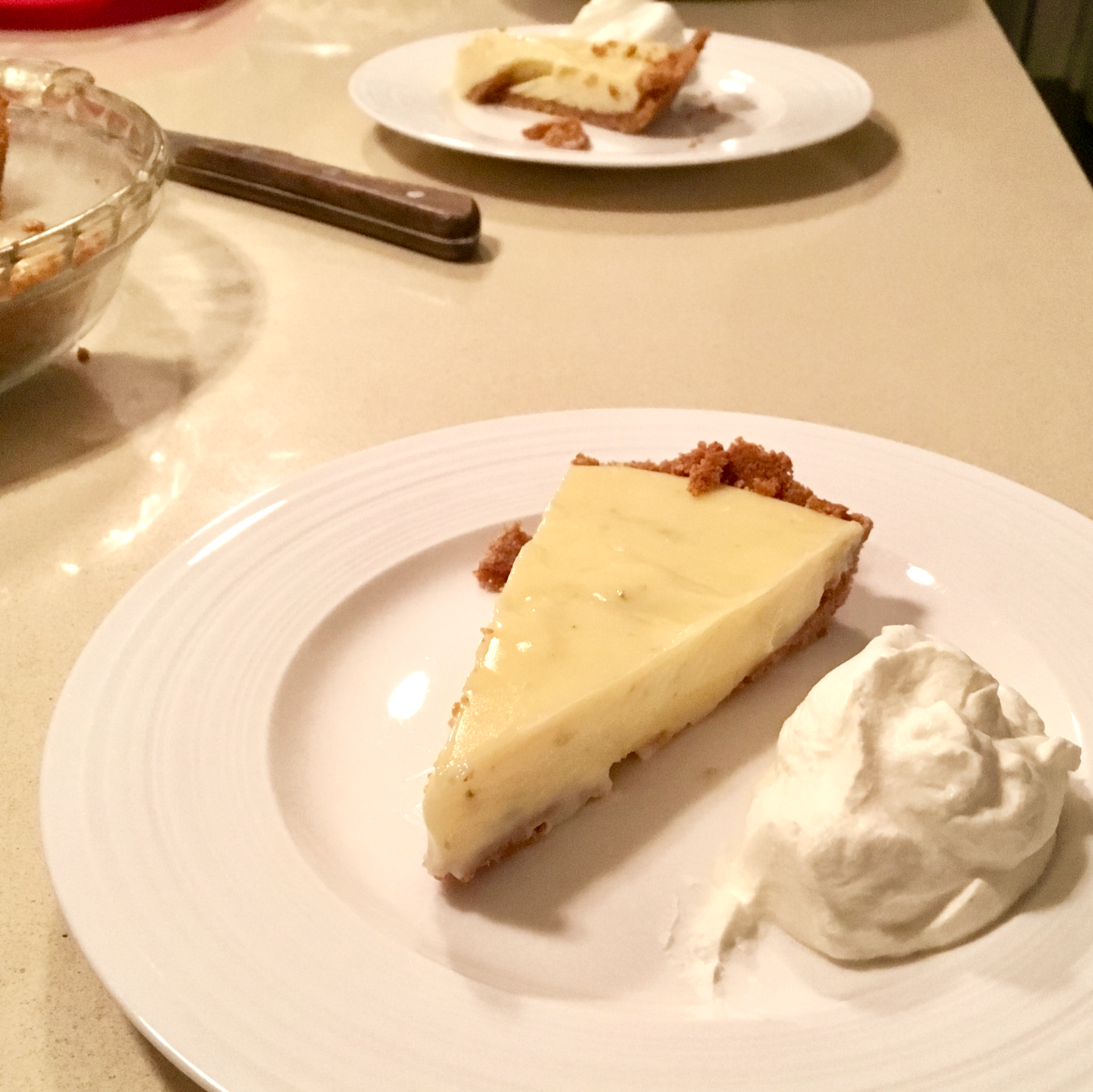 Is there anything better than homemade key lime pie and homemade whipped cream? This is one recipe that Justin decided to master.