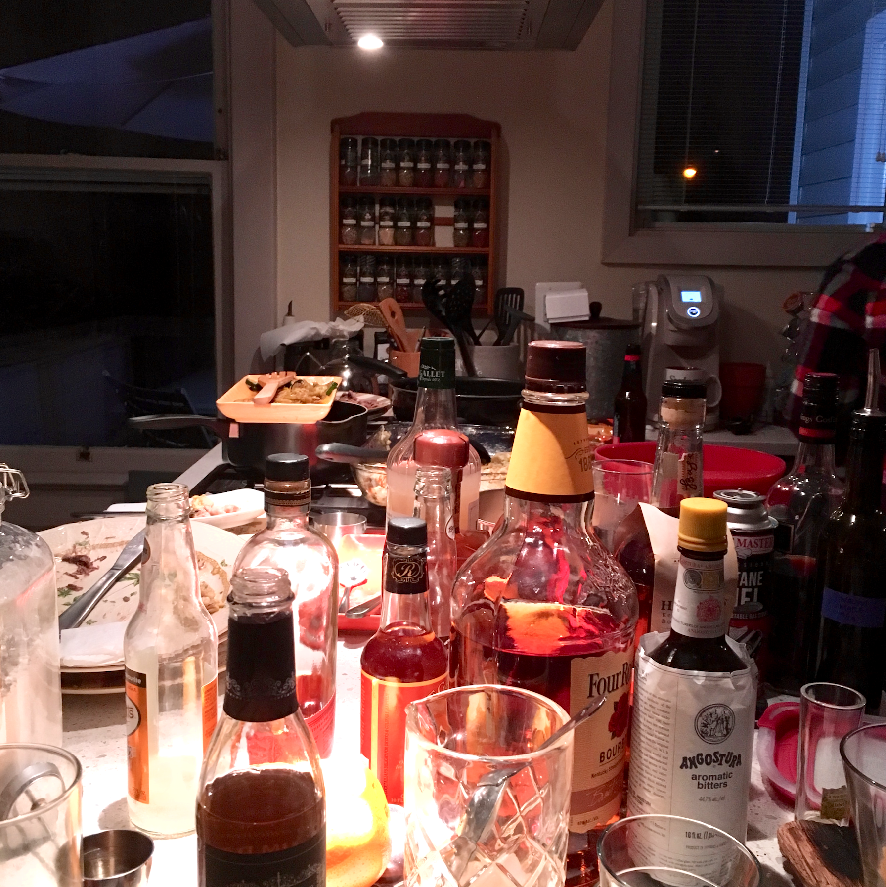 The aftermath of a 13-guest dinner party at Justin's house. The main dish was a massive prime rib.