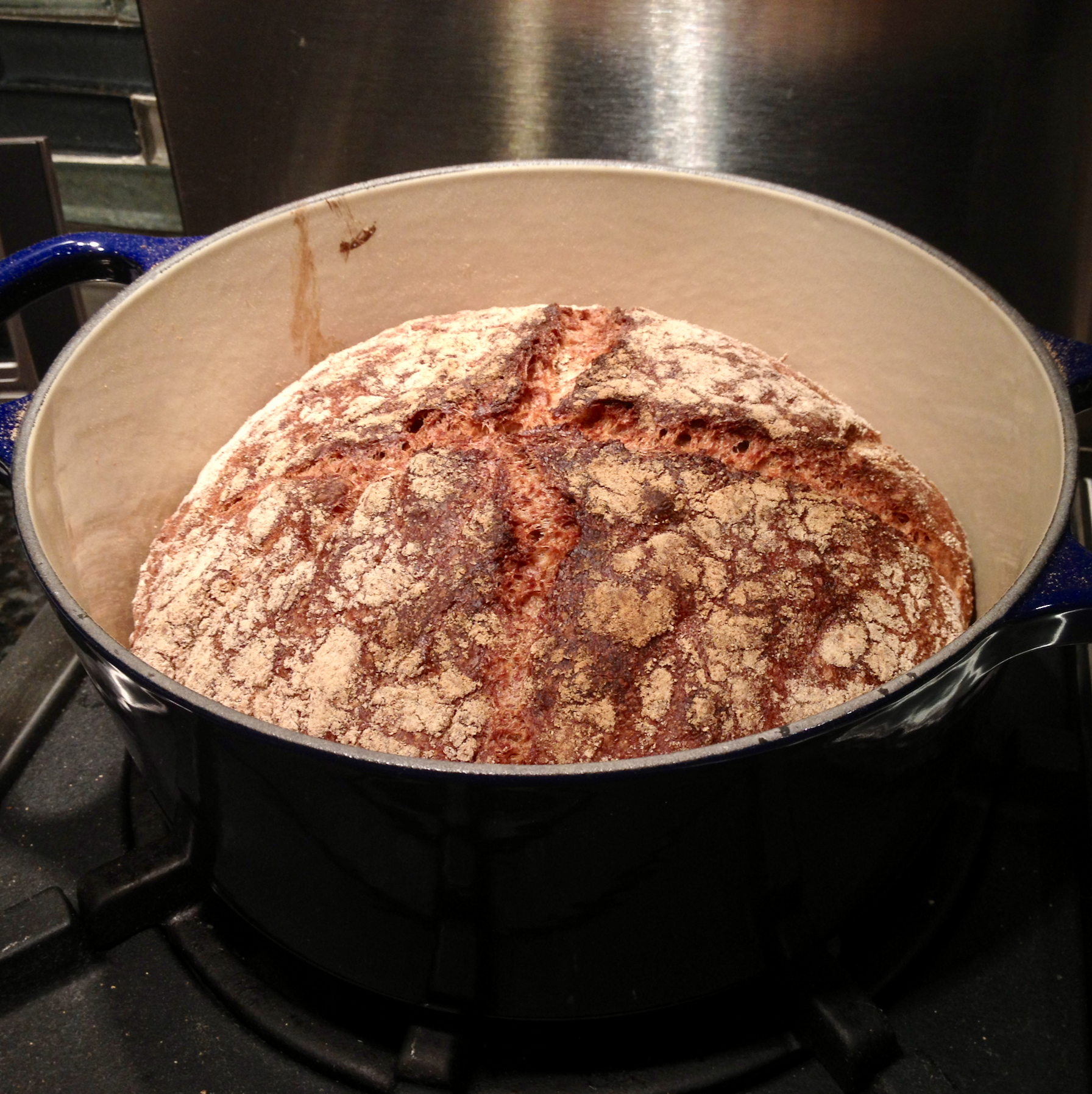 A rustic loaf of bread baked in my Dutch oven.