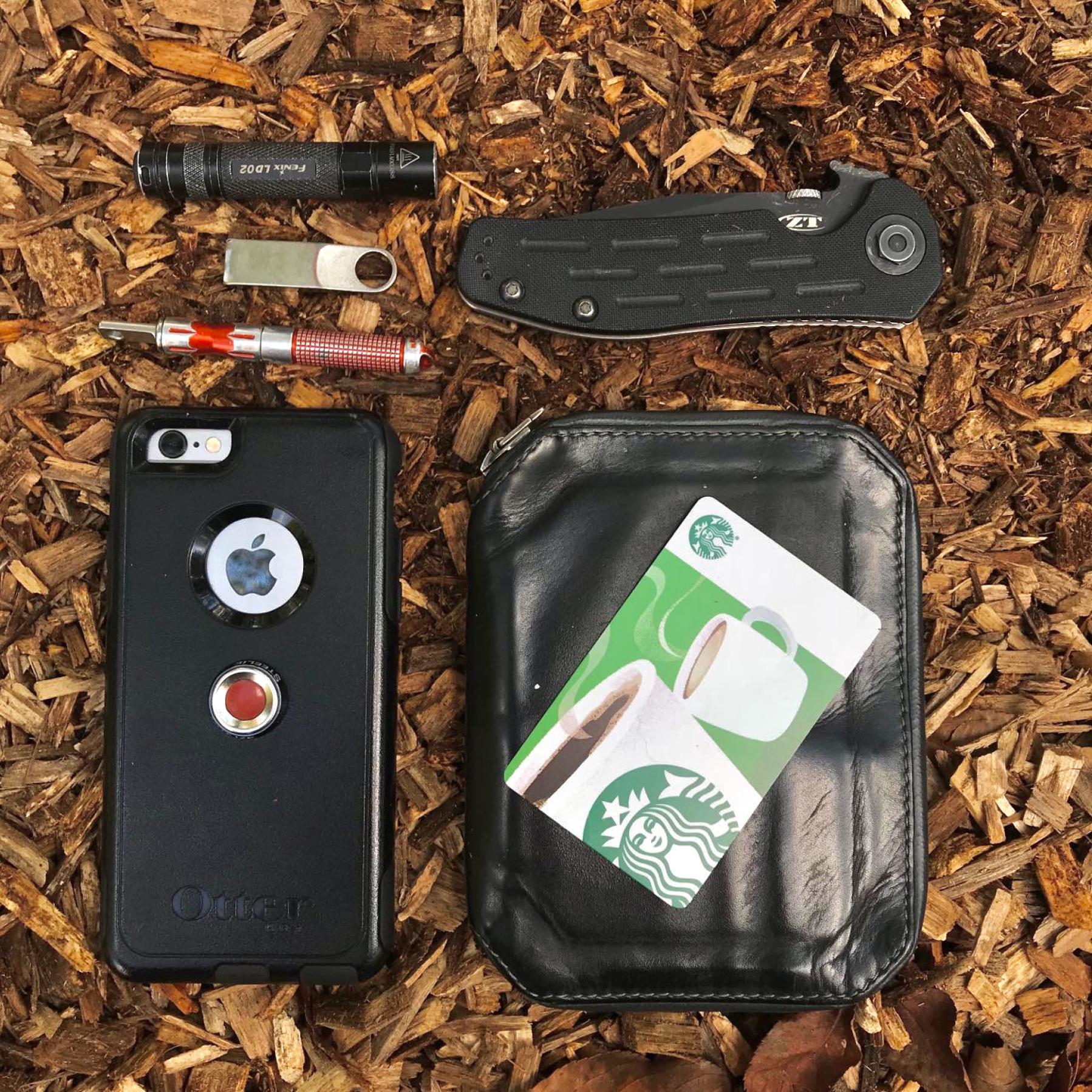 Justin's EDC items (minus handgun and belt).