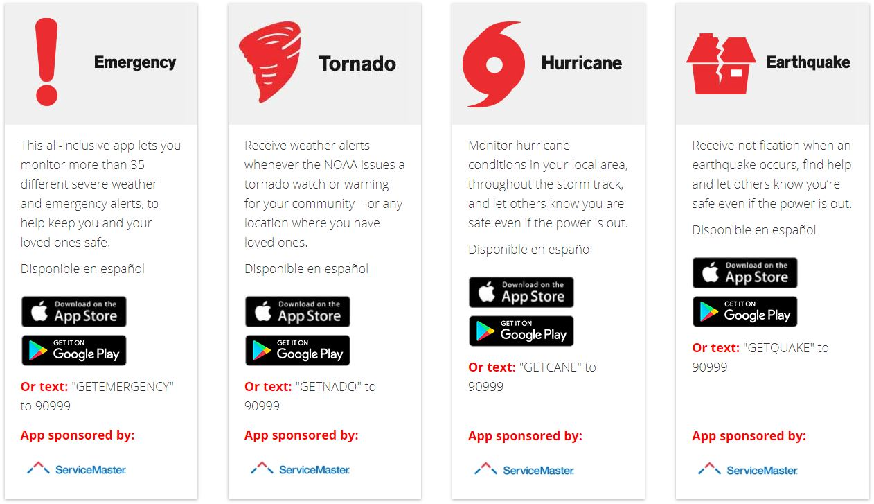 Some of the free Disaster Preparedness Apps available from the Red Cross. [Photo Credit: redcross.org]