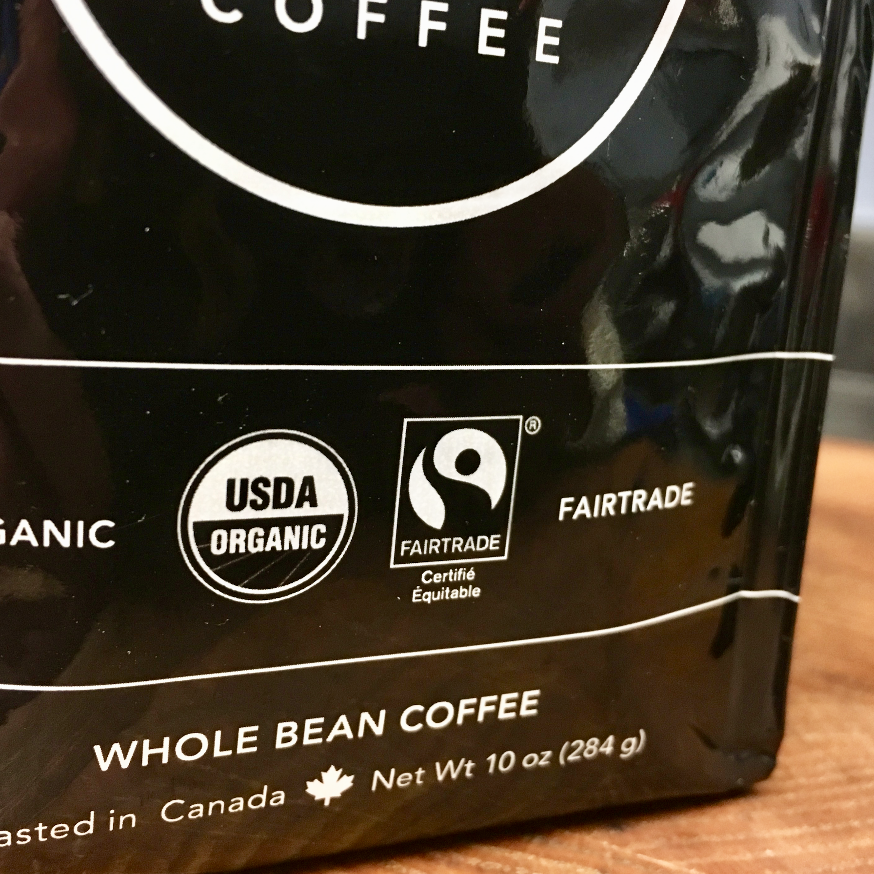 Justin's go-to blend has two of the labels discussed: USDA Organic and Fair Trade Certified. This bag of beans is the  Three Sisters Blend  from Kicking Horse Coffee in Vancouver, B.C.