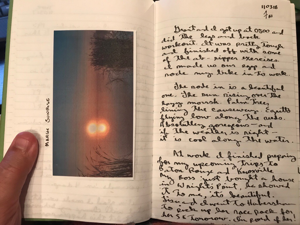 A sample entry from Rich's journal.