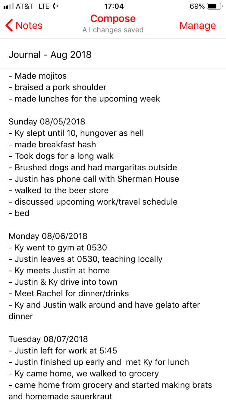 A sample of Justin's journal.