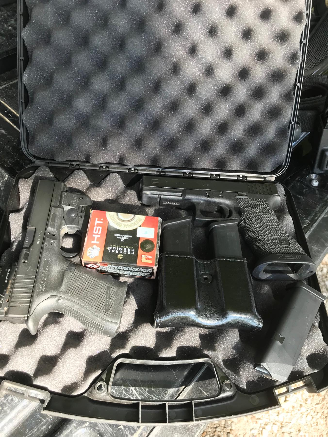 Author's firearms before flight