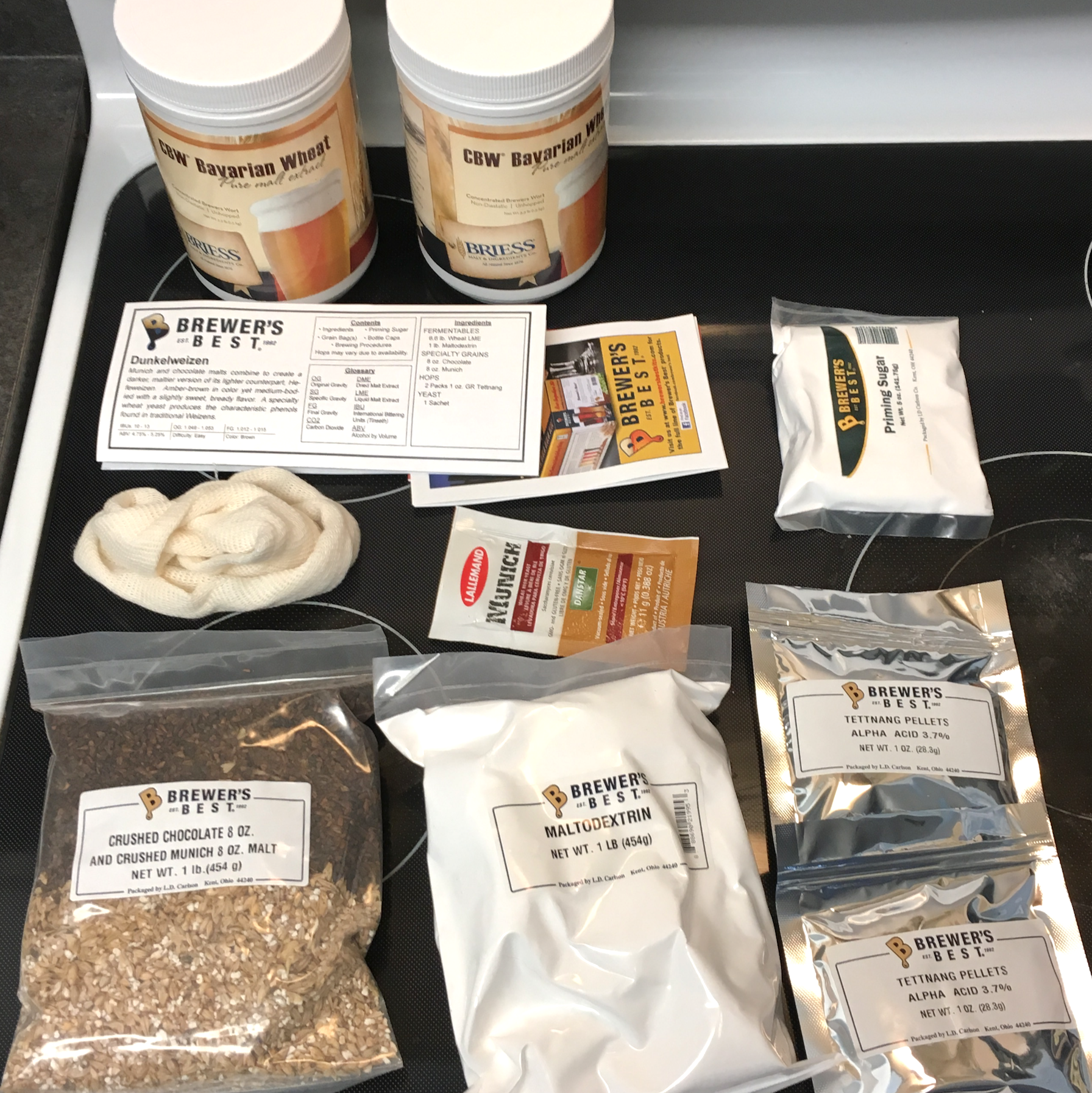 Ingredients from a Brewer's Best dunkelweizen kit.