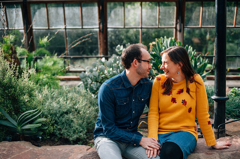 Their Engagement Photos - at Cambridge Botanical Gardens