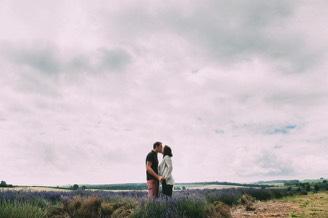 Their Engagement Photos - at the Lavender Farm.