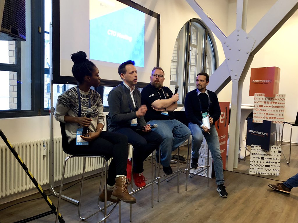 CTO Panel - Event organized by Codemotion. Spoke as CTO (interim) of LegalOS alongside Thomas Holl (Babbel, CTO) and Alessandro Cinelli (DAZN, Engineering Manager) to full room of CTOs, Tech Leads, and Engineering ManagersBerlin, Germany. November 2018[cto, management, startups, tech]Photo: courtesy of CodeMotion