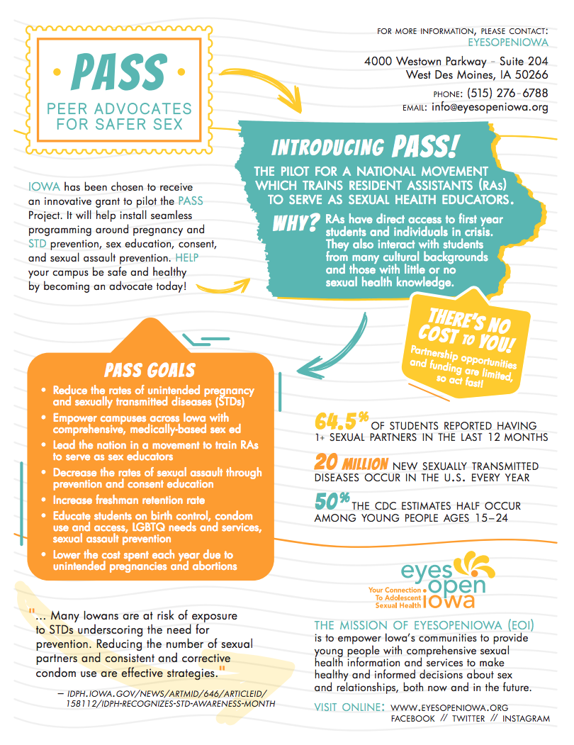 Peer Advocates for Safer Sex (PASS) flyer