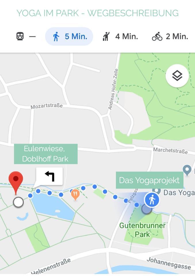 Wegbeschreibung. Vom Studio sind es nur 5 Minuten zu Fuß, du gehst einfach den Mühlbach entlang stadtauswärts, dann am Doblhoff Park Teich vorbei Richtung Orangerie, davor rechts ist schon die Eulenwiese.