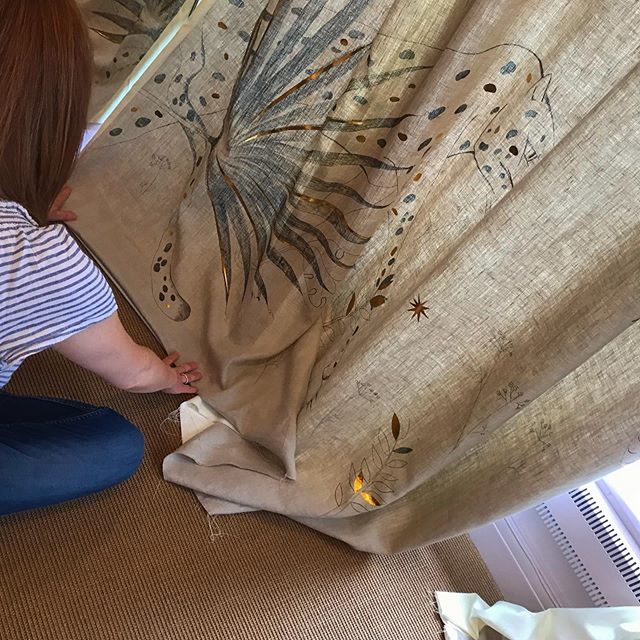Last touches before greeting you all in our first London Belgravia boutique!!! Fitting hand painted curtains! So excited! #aiganagali #manifestationsboutique #belgraviaboutique #artcouture #wearablecollectible #wearablecanvases #handpaintedcurtains