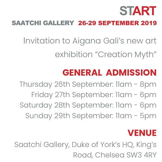 Looking forward to see you this week! @saatchi_gallery @start_artfair #saatchigallery #start2019 #creationmyth