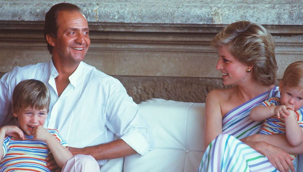 Juan Carlos, king of Spain, and Diana with William and Harry in Mallorca