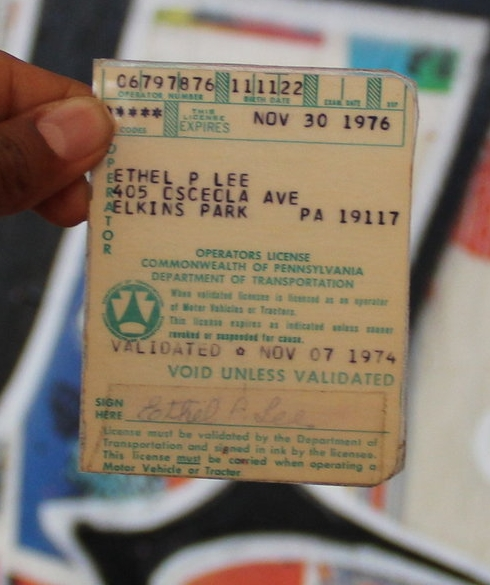 Tree's aunt's drivers license.