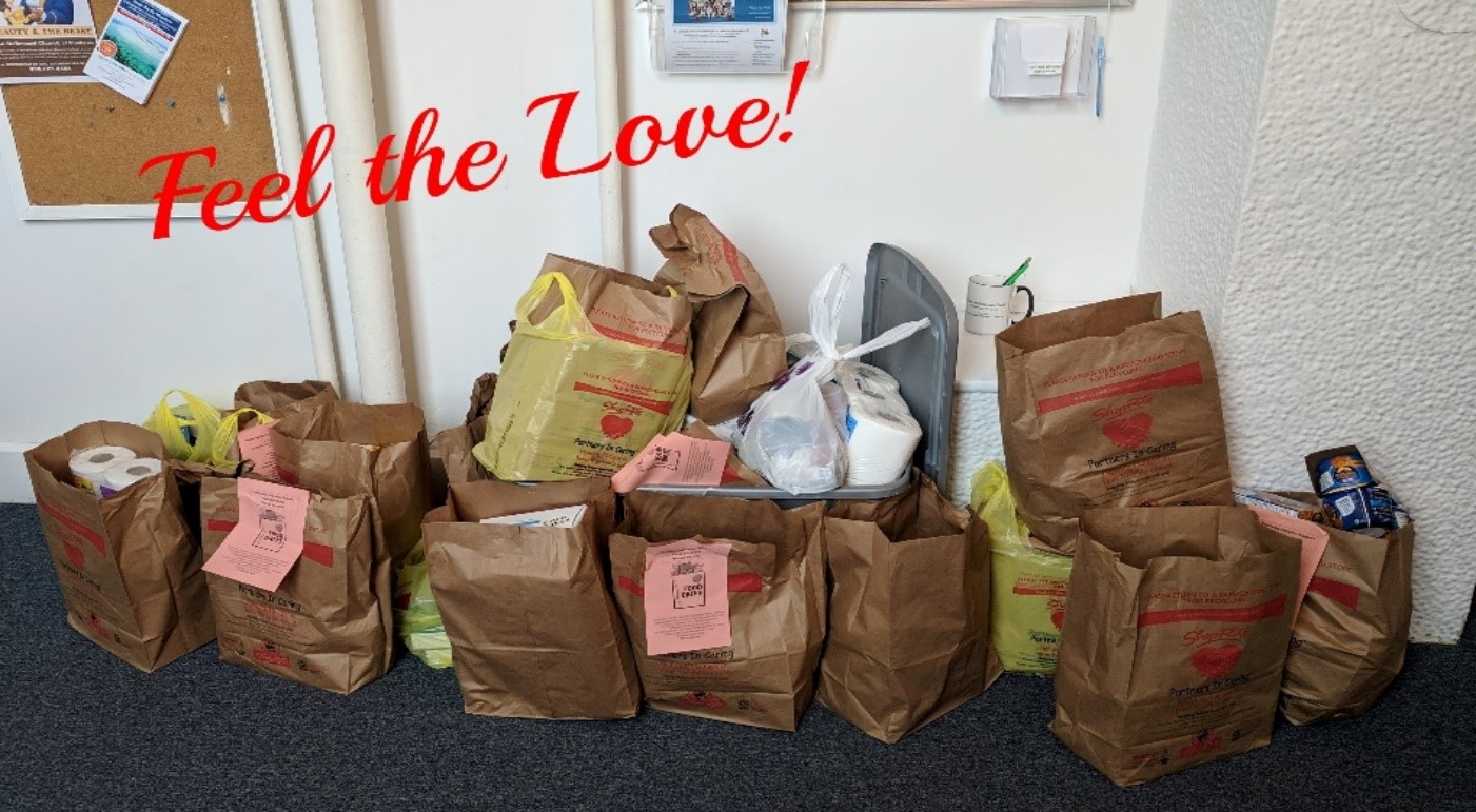 "February 2019 Feel the Love ""Food Pantry Month"" - We dropped off over 50 bags to the Flemington and Hillsborough food pantries and $135 in ShopRite gift cards.To repeat the words said to us in the February Belltower from James….""as members and friends of Clover Hill Reformed Church, we matter a great deal. Our contributions of time, treasures, and talents can make a huge impact on our church family and our community."" ""Each of us makes a difference, each of us matters. Not one of us is forgotten.""YOU matter! We ALL do, and together we accomplish great things."
