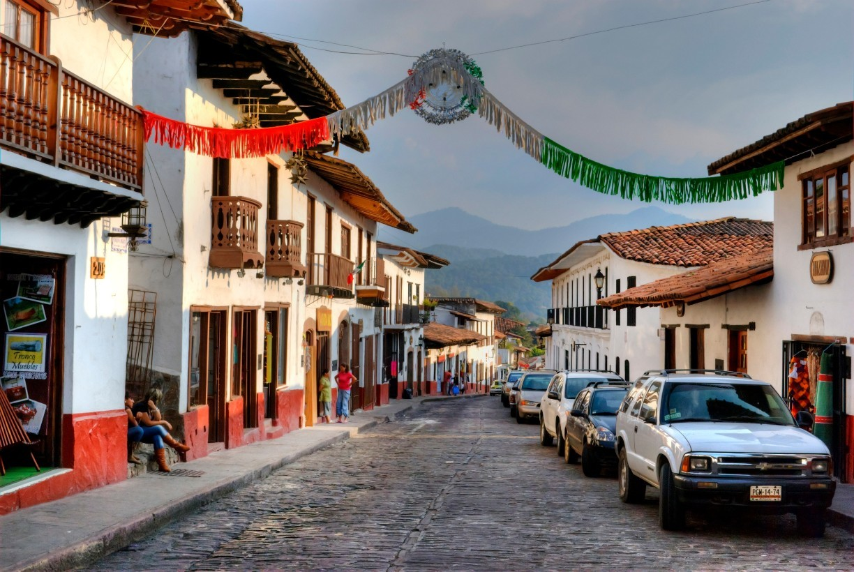 Valle De Bravo Street with Mexican Decoration