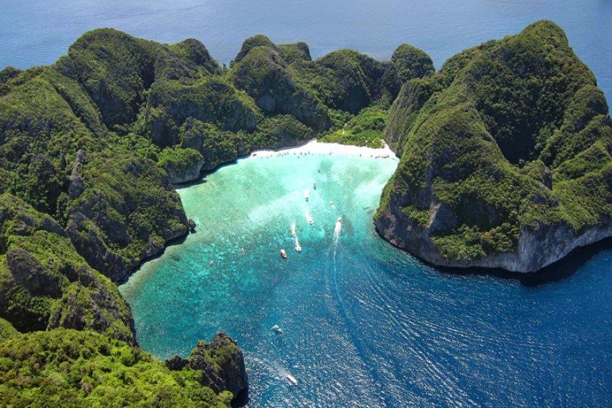 maya bay aerial view